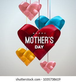Happy Mothers Day. Vector festive illustration. Colorful woven ribbon heart shapes. I love you mom. Holiday realistic banner with hanging hearts. Decoration element for postcard design