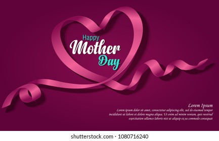 Happy Mothers Day. Vector Festive Holiday Illustration With Lettering And Pink Ribbon Heart