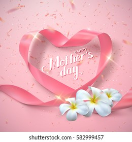 Happy Mothers Day. Vector Festive Holiday Illustration With Lettering, Pink Ribbon Heart, Flowers And Sparkling Confetti Glitters