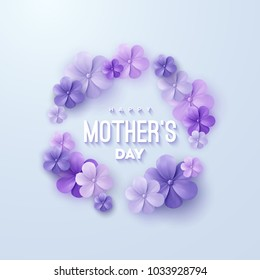 Happy Mothers Day. Vector holiday illustration with violet 3d paper flowers garland and text label. Realistic 3d spring banner. I love you mom. Holiday sale or offer sign