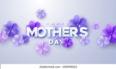 Happy Mothers Day. Vector holiday illustration with colorful 3d paper flowers and text label. Realistic 3d spring banner. I love you mom. Holiday sale or offer sign