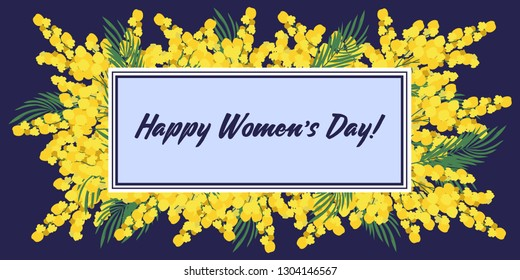 Happy Mothers Day. Vector horizontal Templates for card, poster, flyer and other users with yellow flowers mimosa on a dark background
