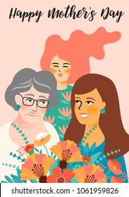 Happy Mothers Day. Vector illustration with women and flowers. Design element for card, poster, banner, and other use.