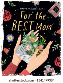 Happy mother's day! Vector illustration for a cover, poster or card for the holiday moms. Drawing of hands holding an envelope with flowers - a holiday gift