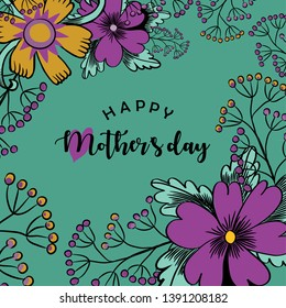 Happy Mother's Day. Vector illustration of beautiful violet and yellow flowers and greeting with a heart on green background