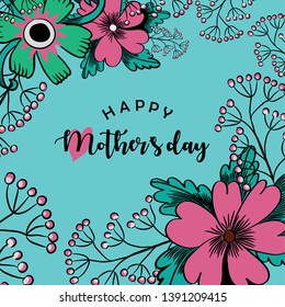 Happy Mother's Day. Vector illustration of beautiful pink flowers and greeting with a heart on turquoise background