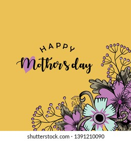 Happy Mother's Day. Vector illustration of beautiful pink flowers and greeting with a heart on yellow background