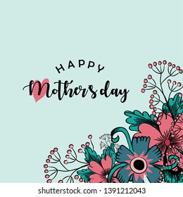 Happy Mother's Day. Vector illustration of beautiful pink flowers and greeting with a heart on light blue background