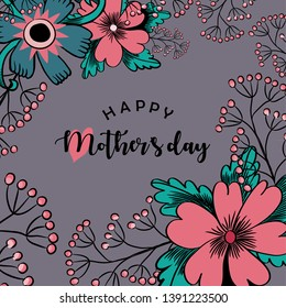 Happy Mother's Day. Vector illustration of beautiful pink flowers and greeting with a heart on violet background