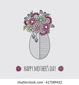 Happy Mother's Day vector illustration with various flowers and doodles in a vase on a grey background.
