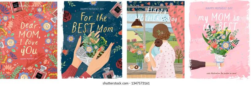 Счастливого дня матери! Векторные иллюстрации для милой обложки, плаката, баннера или открытки для праздничных мам