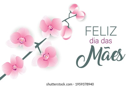 Happy Mother's day vector in Portuguese language