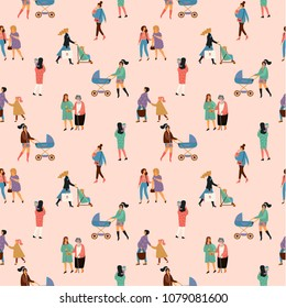 Happy Mothers Day. Vector seamless pattern with women and children. Design element for card, poster, banner, and other use.