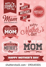 Happy Mother's Day Vector Set - Best Mom in The World - I Love My Mom - We Love Mom - Hearts and Banners