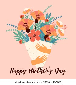Happy Mothers Day. Vector template with flowers. Design element for card, poster, banner, and other use.