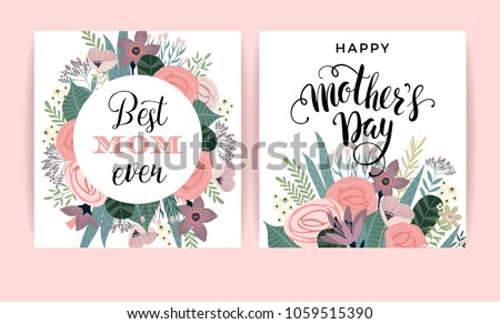 happy mothers day vector template flowers のベクター画像素材