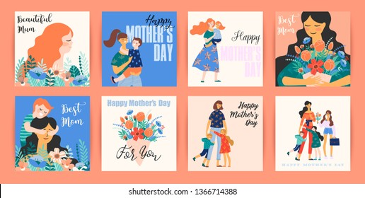 Happy Mothers Day. Vector templates with women and children. Design element for card, poster, banner, and other use.