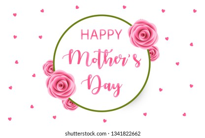 Happy Mother's Day vector wreath style in white background for greeting card, posters, banners, sale design, web and print marketing. Pink rose flowers design elements. Elegant and Minimal Design.
