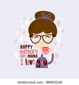 Happy mother's day/ Women having tea illustrations/ Cartoon design/ Hand drawn illustrations/ Love shape background design