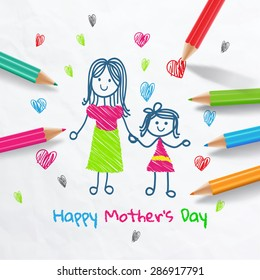 Happy Mother's Day.Draw With Colored Pencils