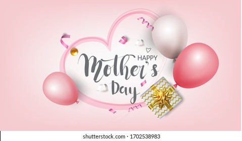 Happy Mother's Day,Sale promotion banner, poster or flyer vector illustration 3D style,Valentines day super sale promotion shopping online.