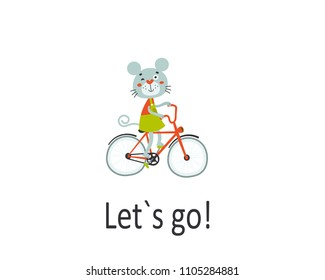 Happy mouse riding bike. Pleasure trip concept. Cartoon vector illustration