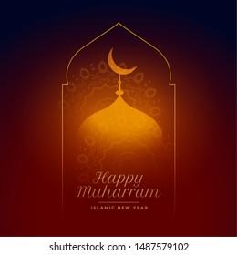 happy muharram glowing mosque islamic background design