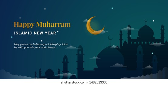 Happy muharram islamic new hijri year background. Holy great mosque silhouette with crescent moon at night scene vector illustration. Muslim community festival backdrop banner template design.