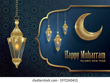 Happy Muharram, the Islamic New Year, new Hijri year design with gold pattern on paper color backgroung  - Shutterstock ID 1972243415
