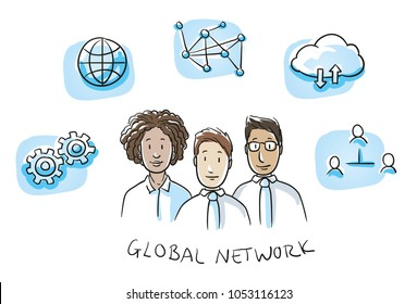 Happy multi ethnic business team, man and woman, talking about global networking with icons on blue tiles. Hand drawn cartoon sketch vector illustration, whiteboard marker style coloring.