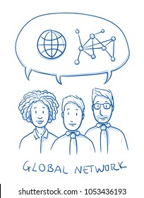 Happy multi ethnic business team, man and woman, talking about global networking with icons in speech bubble. Hand drawn line art cartoon vector illustration.