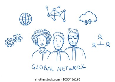 Happy multi ethnic business team, man and woman, with global networking  icons around them. Hand drawn line art cartoon vector illustration.