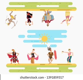 Happy multicultural indonesian tribe wearing traditional dress and performing traditional dance with traditional weapon and instrument character vector illustration flat design, heritage of indonesia