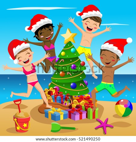 605894c4a34ef Happy Multicultural Kids wearing swimsuit and xmas hat jumping around xmas  tree at tropical beach - Vector