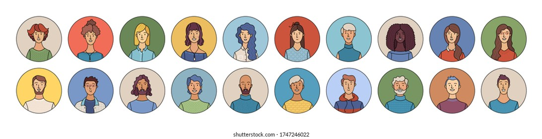 Happy multicultural people avatars set. Smiling adult men and women profile pictures. Diverse human face icons for representing person vector illustration. User pic for web forum or account in circles