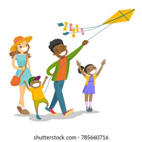 Happy multiethnic family with two biracial kids having fun while flying kite on family vacation. Young family playing with a kite. Vector cartoon illustration isolated on white background.