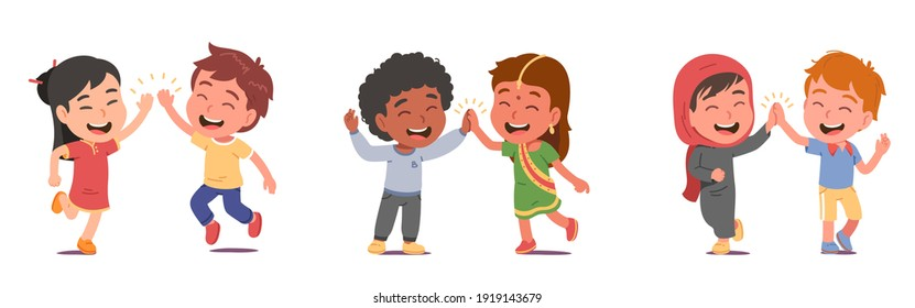Happy multiethnic friends kids boys, girls give high five greeting. Friendly diverse nationalities children persons in national costumes meeting. International friendship flat vector illustration set