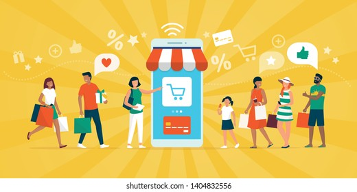 Happy multiethnic people shopping together on a shopping app and smartphone, online payments and e-shopping concept