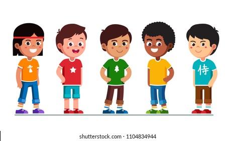 Happy multiethnic preschool boys standing in line. Smiling diverse kids cartoon characters set. Multiracial children. Caucasian, African American, Asian, Indian, Chinese kids. Flat vector illustration