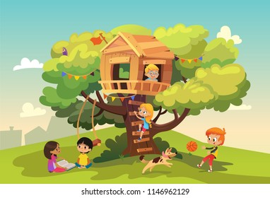 Happy multiracial boys and girls playing and having fun in the treehouse, kids playing with dog, and watering gun, reading book and climb ladder in the neighborhood. Detailed vector Illustration