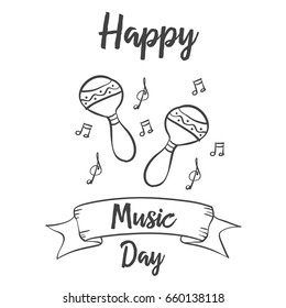 Happy music day card vector art collection stock