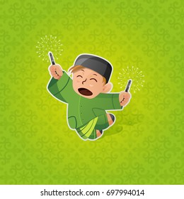 Happy Muslim Boy Celebrating Hari Raya Aidilfitri with Firecracker. Celebration of Breaking Fast(Puasa).Vector Illustration. Maaf Zahir and Batin.