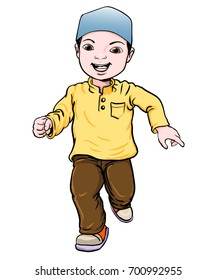 Happy Muslim boy make running. Brown trousers, yellow shirt. Flat cartoon style. Vector Illustration
