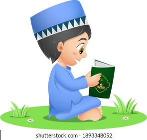 Happy muslim boy reading quran book