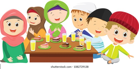 happy Muslim boys and girls eating  fasting dinner together