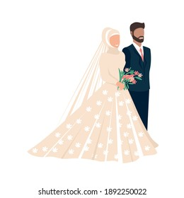Happy muslim bride and groom get married. Flat vector illustration of lovers man and woman in wedding clothes. Together forever. Isolated over white background.