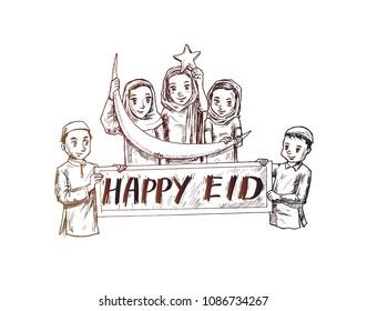 Happy Muslim Children with Ramadan Icons, vector illustration.