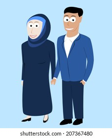 Happy muslim couple holding hands