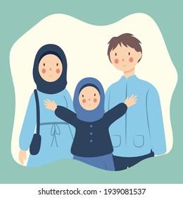 Happy Muslim families welcome Ramadan