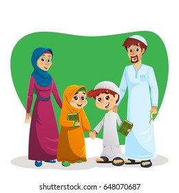 Happy Muslim Family of Parents and Children Holding Quran Book